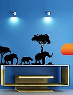 Createforlife® Elephant in the Forest Kids Nursery Room Wall Sticker Wall Art Decals
