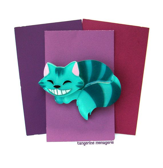 The Cheshire Cat from Alice in Wonderland Novelty Brooch Pin by Tangerine Menagerie