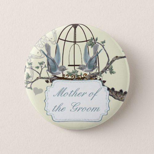 Vintage Bluebird Love Birds Wedding Badges Pinback Button