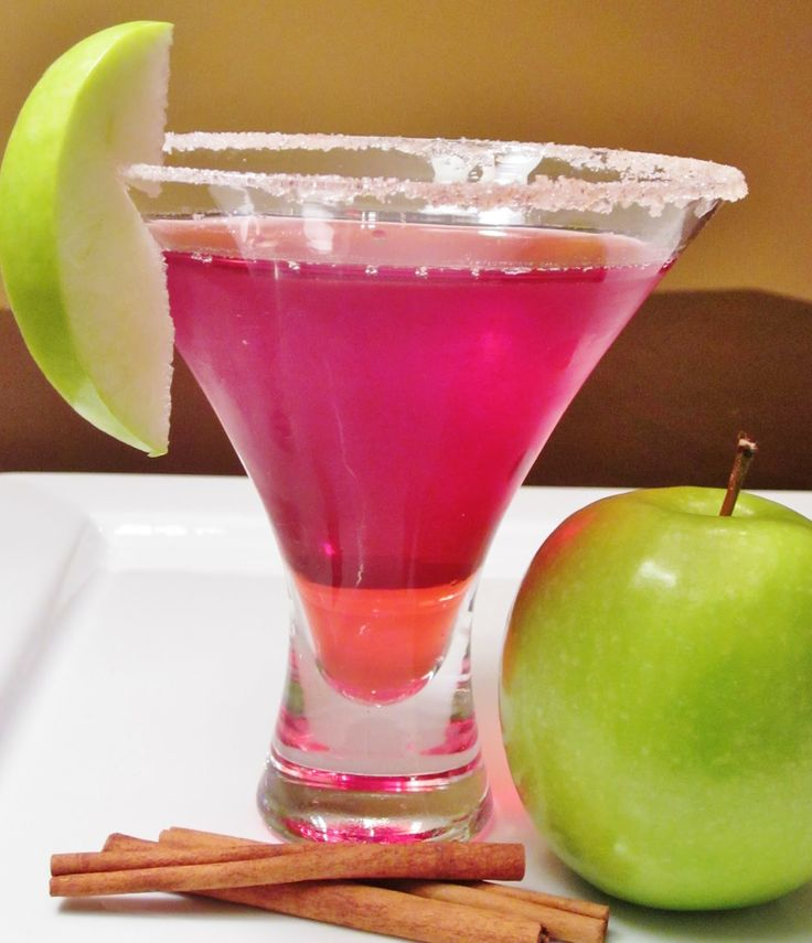 Washington Apple Martini (3/4 ounce Crown Royal  3/4 ounce Sour Apple Pucker  3 ounces cranberry juice  To be extra fancy, rim the martini glass with cinnamon sugar (optional)  Shake over ice, strain into a martini glass   Garnish with an apple slice)