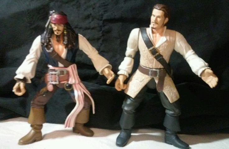 Pirates of the Caribbean WILL TURNER & JACK SPARROW 7in action figures Zizzle  #Zizzle