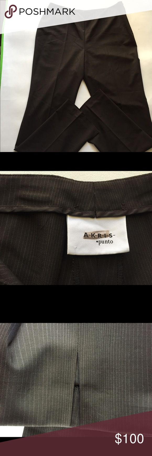HIGH END AKRIS PINTO BROWN SLACKS WOMEN SZ 12 •EXCELLENT CONDITION • •note     ONE HEM STITCHING CAME LOOSE OTHERWISE NO ISSUES • •AKRIS PUNTO • •SIZE 12 • •BROWN WITH WHITE STRIPES • •SLACKS • •SIDE HIDDEN ZIPPER • •HEMS HAS SLITS FOR A BETTER FIT FOR ANY TYPE OF SHOES Pants Trousers