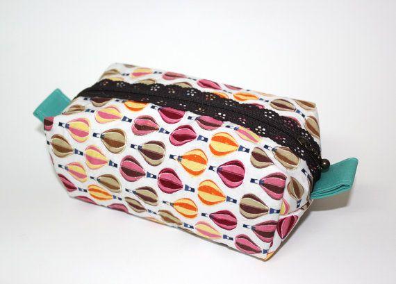 NuNo Big pencil case. Big hot air balloons pencil case.  Dark brown lace zipper. Cosmetic case. Zipper pouch.