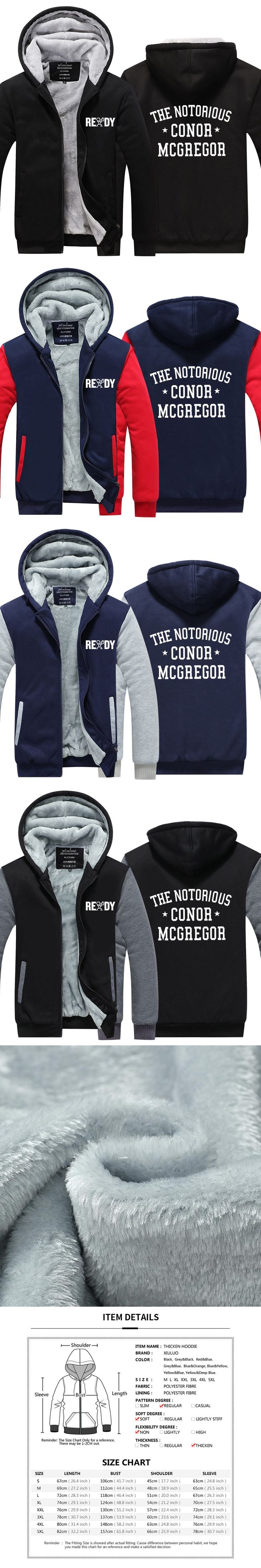 The Notorious Conor McGregor Letters Men Hoodies men Fashion Casual Funny jacket For Man Thicken zipper Tops USA size Plus size