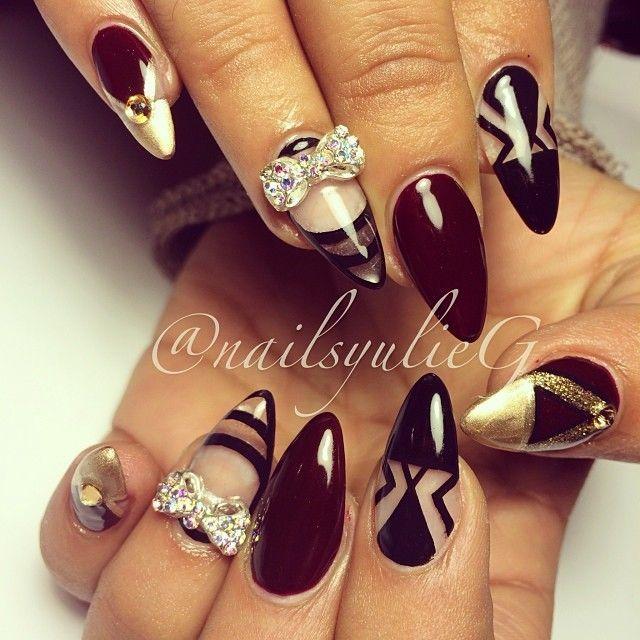 Burgundy Black and Gold Negative Space Almond Stiletto Nails @nailsyulieg