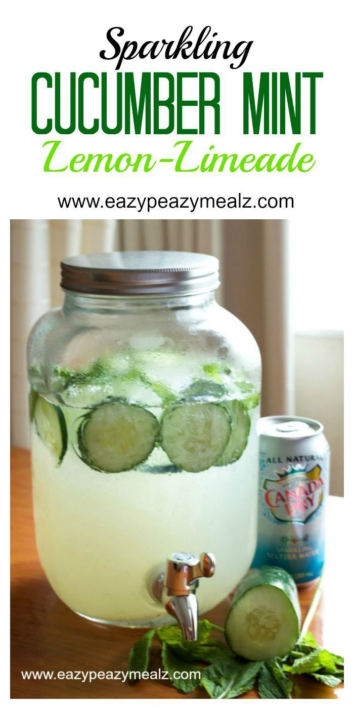 Sparkling Cucumber Mint Lemon-Limeade, this drink is so good! And perfect for an at home spa party.