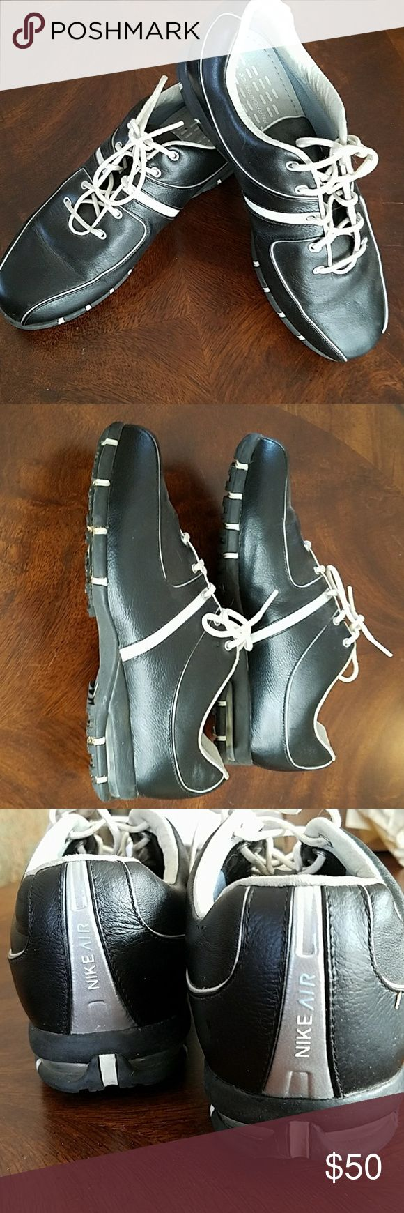Nike Air Golf Shoes women size 7.5 wide Black and white all leather golf shoes Nike Shoes Athletic Shoes
