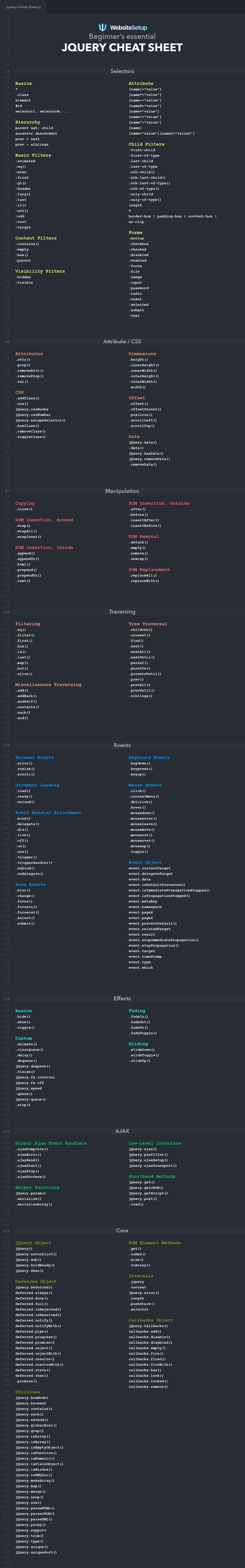 Whether you're an avid jQuery developer or just someone who is starting out, this jQuery cheat sheet below will help you out. If you have any feedback regarding this jQuery Cheat Sheet, feel free to leave a comment or get in touch via email: rob(at)websitesetup(dot)org P.S. Here's a link to th