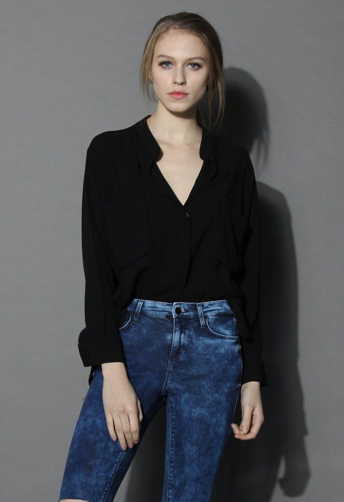 Neutral Batwing Crepe Shirt in Black - Tops - Retro, Indie and Unique Fashion
