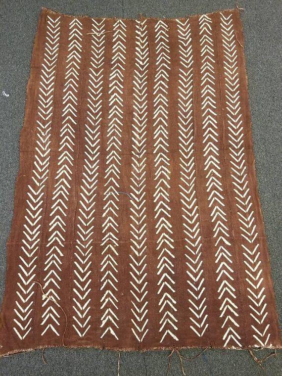 Plain White Authentic Mud Cloth Bambara Fabric
