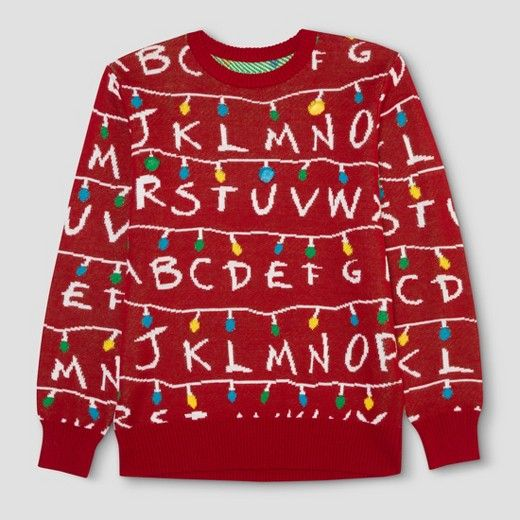 Men's Big & Tall Stranger Things Ugly Holiday Light-Up Sweater - Red Size:  Xxxl Tall