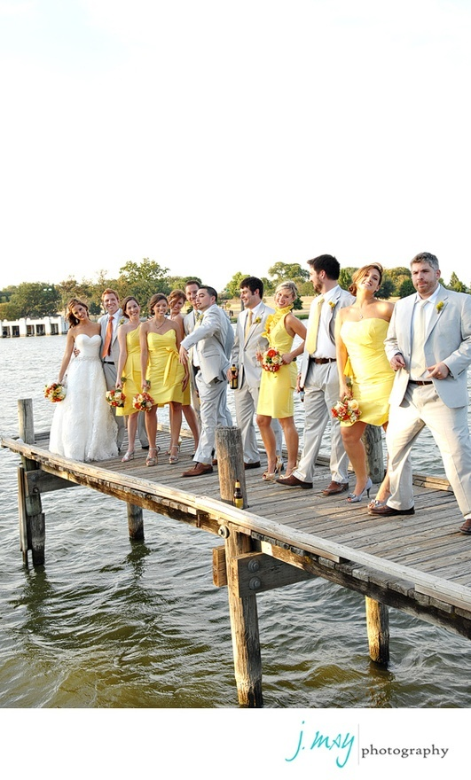 Yellow and Gray wedding, love the different styles of yellow bridesmaid dresses so adorable! Love the colors