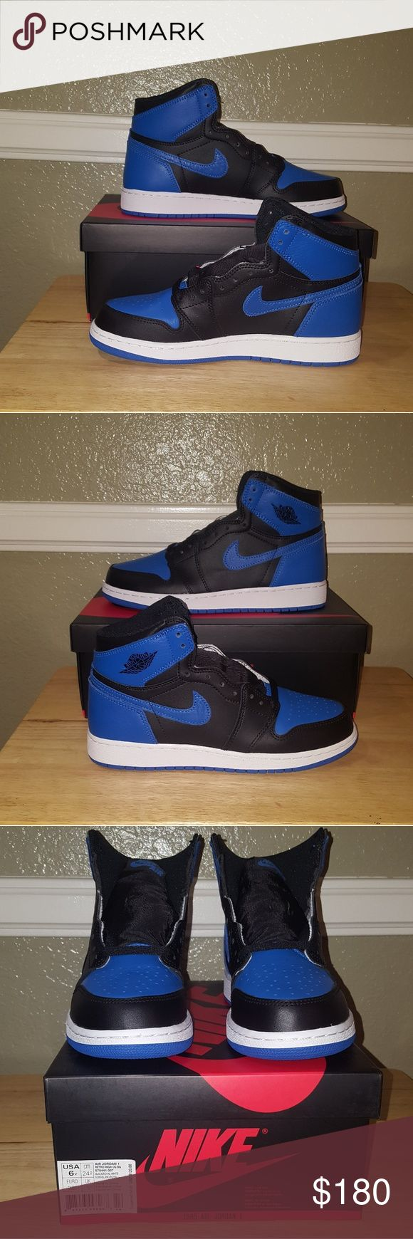 """Nike Air Jordan Retro 1 Royal Selling brand new Nike Air Jordan 1 """"Royal"""" they're a black and blue version of Michael Jordan's first signature shoe. It originally released in 1985, followed by 2001, and 2013. Shoes features a mix of leather, foam, and rubber materials.  Size: 6Y  #nike #airjordan #jordan #royal #royal1 #og1s #retro #1 #6y Jordan Shoes"""