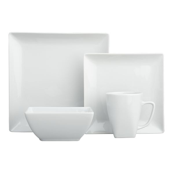 love the straight lines...how fitting that it is called the Court dinnerware set at Crate & Barrel