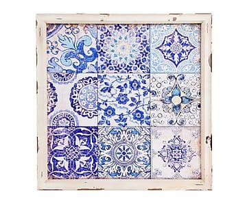 Cuadro con marco de madera Azulejos - 42,5x42,5 cm