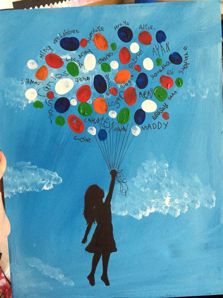 On to the next adventure. Thank you gift for student teacher. Balloon finger print art.