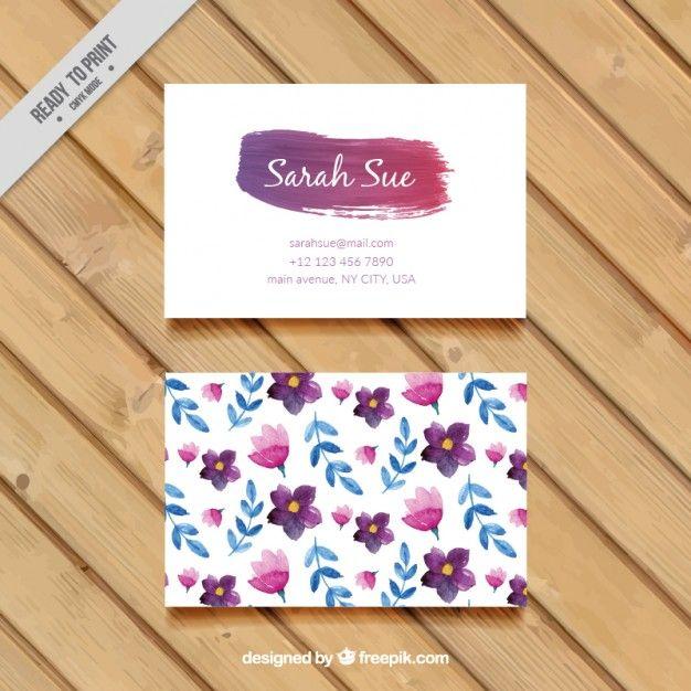 Flores da aguarela e folhas cartão de visita Vetor grátis