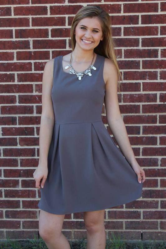 Grey Pleated Dress - Luna Boutique