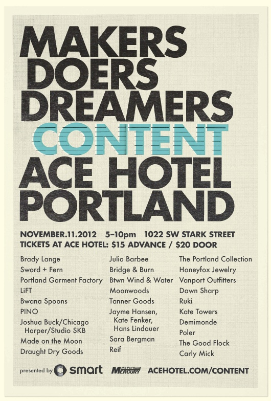 Come visit at the Content Show at the Ace this Sunday. More info here: http://www2.acehotel.com/content/?utm_content=acehotel.com%2Fcontent_medium=shortlink_source=unknown_campaign=Content+2012