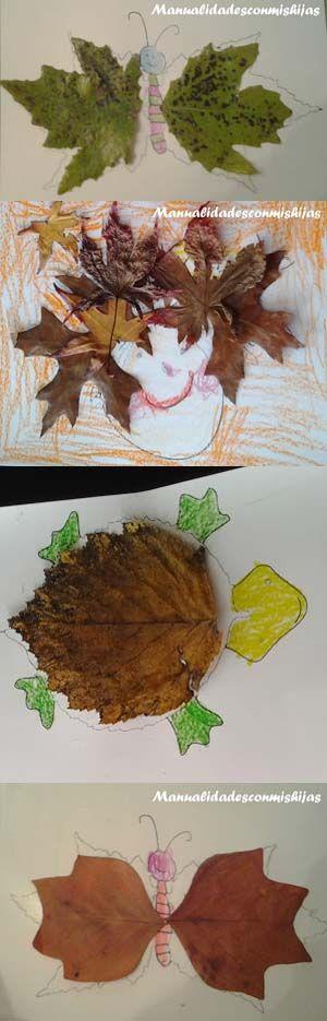 Manualidadesconmishijas: Figuras con hojas de otoño. Autumm leaf