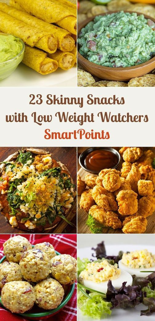 23 Skinny Snacks With Low Weight Watchers SmartPoints including Chicken Bites, Cauliflower Poppers, Zucchini Fries, Cheese Fries, Stuffed Mushrooms, Cheese Twists, Chicken Taquitos, Deviled Eggs, and more!