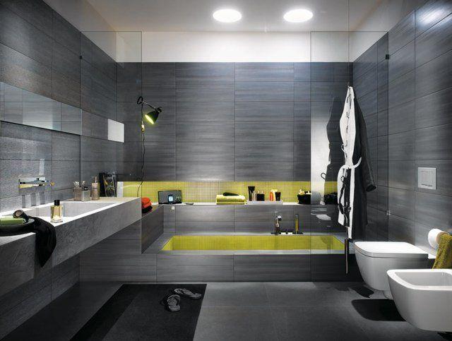 carrelage salle de bain jaune » Photos de design d\'intérieur et ...