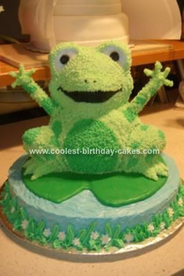 Homemade Frog Birthday Cake - using the Wilton 3D Bear pan