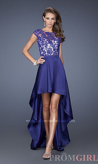 Lace Cap Sleeve High Low Dress by La Femme at PromGirl.com