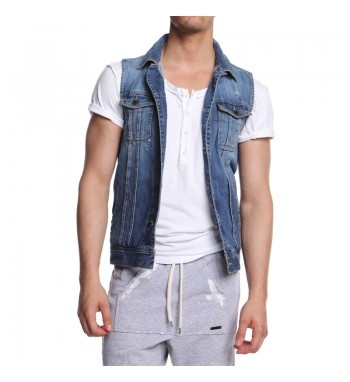 Sleeveless jeans men's jacket. http://shop.mangano.com/en/jackets/16454-gilet-wild-denim-stropicciato.html  #denim #coat #gilet #menswear #fashion