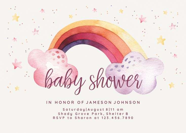 Loveable rainbow - Baby Shower Invitation Template (Free ...