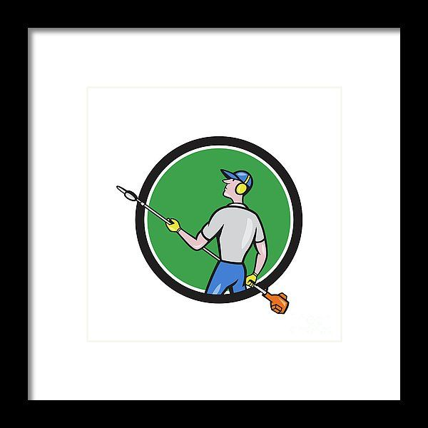 Gardener Hedge Trimmer Circle Cartoon Framed Print by Aloysius Patrimonio.   Cartoon style illustration of male gardener holding hedge trimmer looking to the side viewed from rear set inside circle on isolated background. #illustration #GardenerHedgeTrimmer