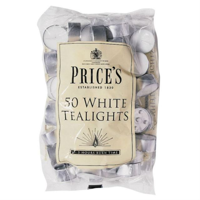Prices Candles White Tealights - Pack of 50 | Hilary Rhodes on WeShop