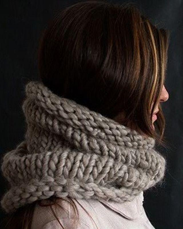 Loop mit dicker Wolle stricken