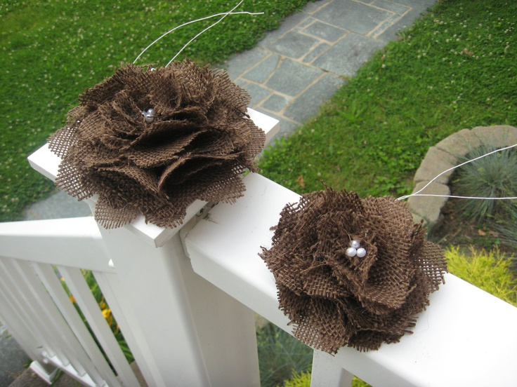 ooak chocolate brown burlap flower wedding cake decor toppers. pew bow decor. other colors available. $45.00, via Etsy.