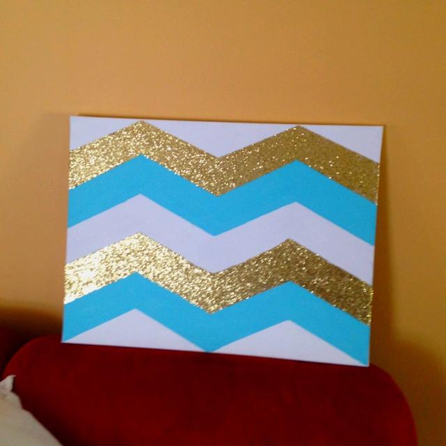 Chevron canvas art glitter gold blue