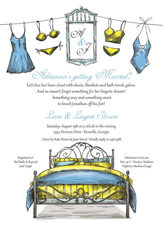 Lingerie Shower Invitation Linen Shower by colorsofsummer on Etsy