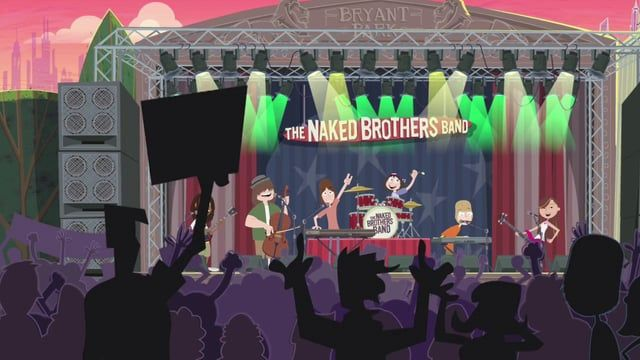 Naked Bros Band animated episode for Nickelodeon at Worldwide Biggies Animation.  Michael Lennicx - developed style for backgrounds and vehicles, did 100 bgs and layouts  Mark Salisbury - Director, Scott Martin - Lead Animation, Tim Shankweiler - art direction character design  Conor O'Kelly Lynch - 3D animation and compositing.