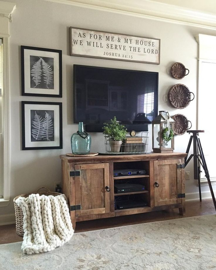 wall mounted tv with rustic touches surrounding                                                                                                                                                                                 More
