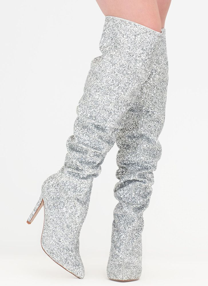 5c9e4dca212b So Much Sparkle Glitter Thigh-High Boots SILVER | Shoes in 2019 ...