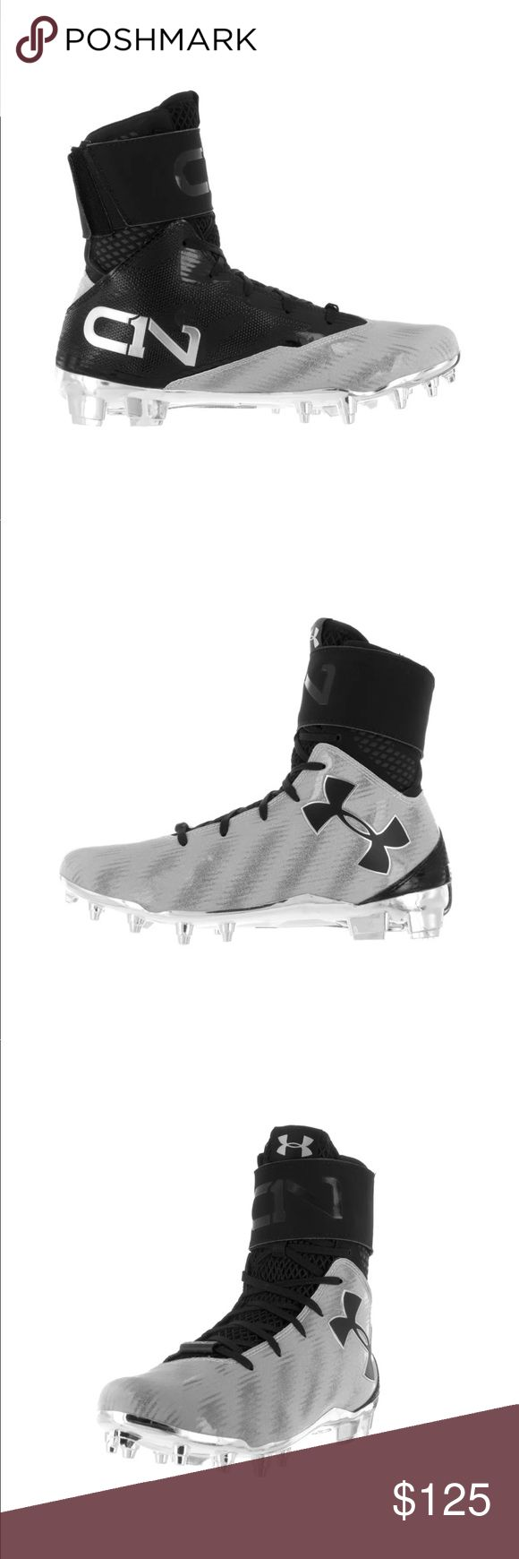 Men's Under Armour C1N Cam Newton Football Cleats - Brand New, Just Without The Box! Super-High. Impossible to stop. Built for Cam Newton, the QB of the future. - UPPER: Icy Diamond synthetic offers durability in a sleek, go-fast design - Removable strap for extra support when you want it - Customizable sticker pack included. - MIDSOLE: Molded 4D Foam, UA's proprietary footbed forms to your foot providing optimal comfort and reduces cleat pressure. - OUTSOLE: Chromed-out Pebax cleat plate…