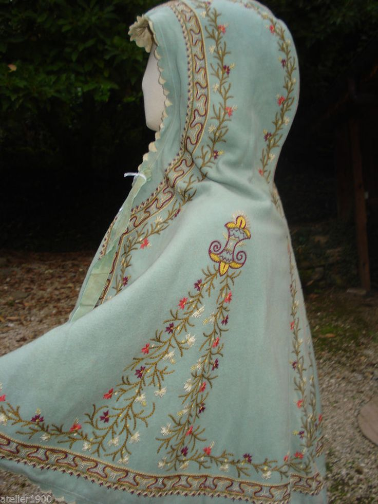 antique victorian childs embroidered hooded cape
