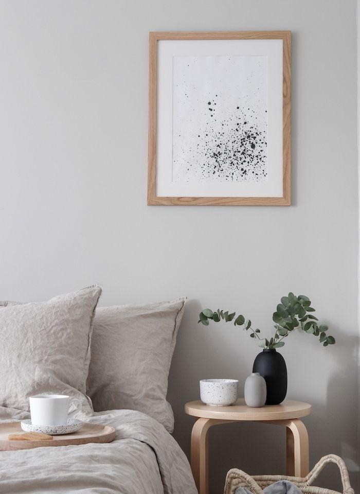 exemple de chambre à coucher gris et bois, taupe couleur linge de ...