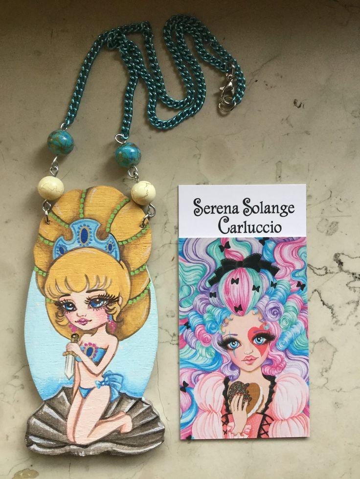Collana Venere Rosalie , pendente in legno sagomato dipinto a mano con colori acrilici di Serena Solange Carluccio