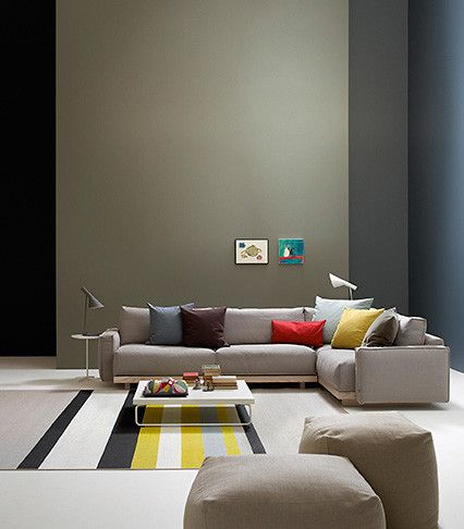 Woodnotes Horizon paper yarn carpet. Interior inspiration. Living room. Yellow. Grey. Stripes.