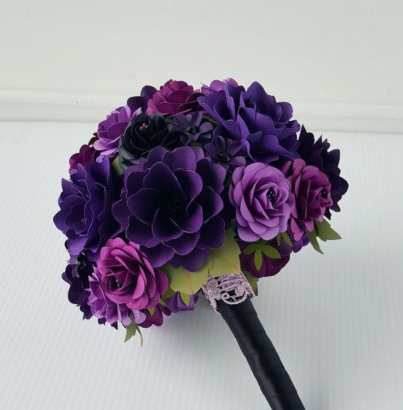 Bouquet - papel flor ramo - ramo de novia - morado y negro - por encargo - cualquier Color de papel