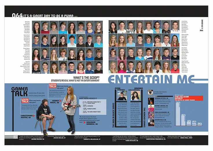 top half class portrait page bottom half story