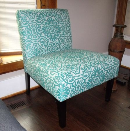 Detroit New Accent Chair Turquoise And White Pattern