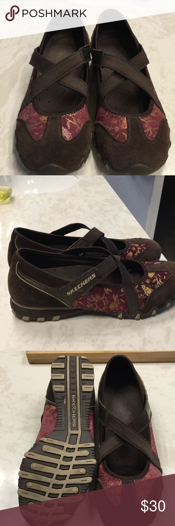 Sale! Skechers Brown and Red Shoes Skechers dark brown leather with red koi embroidered shoes. Koi is stitched in pretty gold stitching. Size 8.5. Some minor wear but in great shape. Skechers Shoes Flats & Loafers