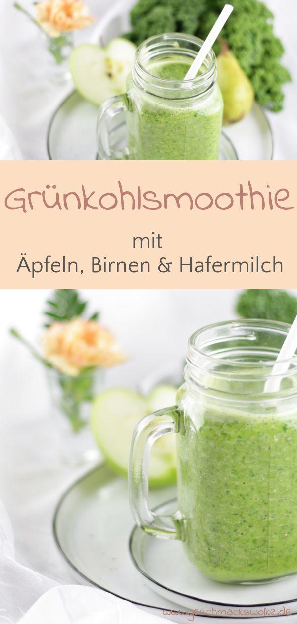Grünkohlsmoothie mit Äpfeln, Birnen und Hafermilch – ~ Food – Getränke ~