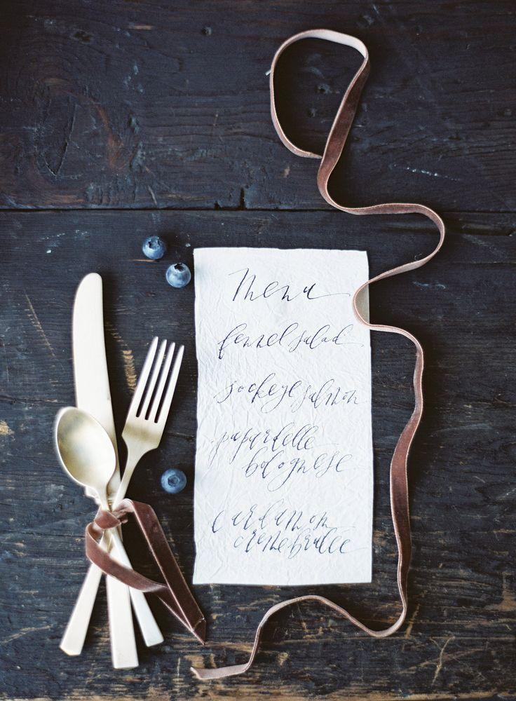 Organic Wedding Menu. Downtown Los Angeles Wedding Invitation Suite. Modern  Calligraphy By Script Merchant